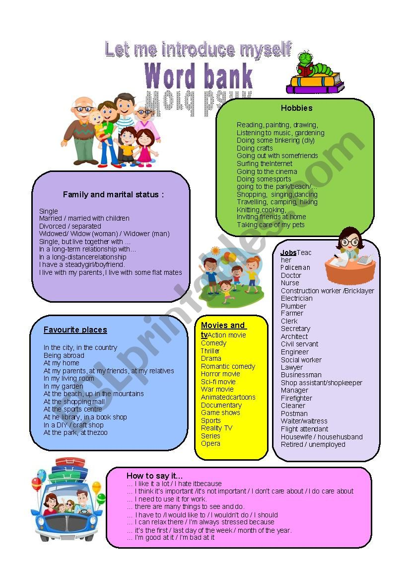 Introduction for adults worksheet