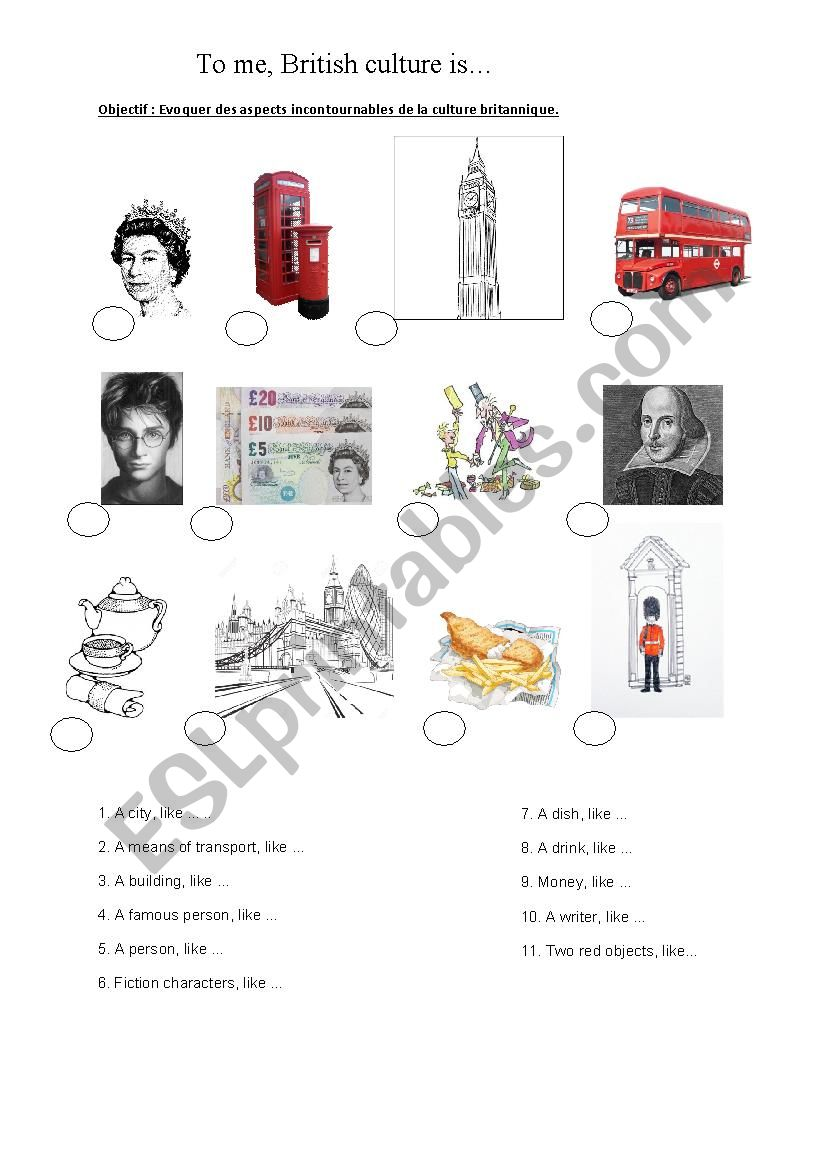 To me, British culture is... worksheet