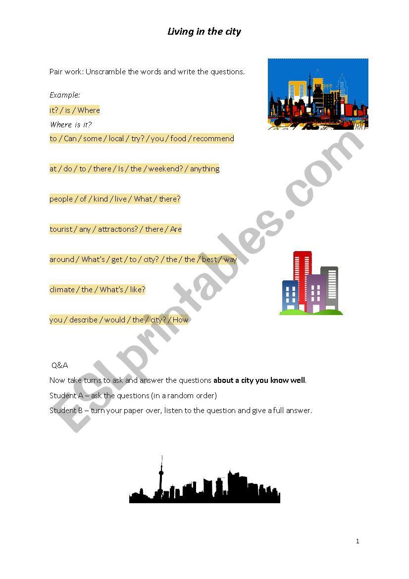 Living in the city worksheet