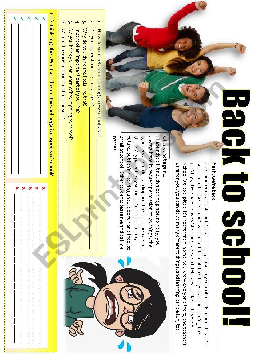BACK TO SCHOOL (wondering) worksheet