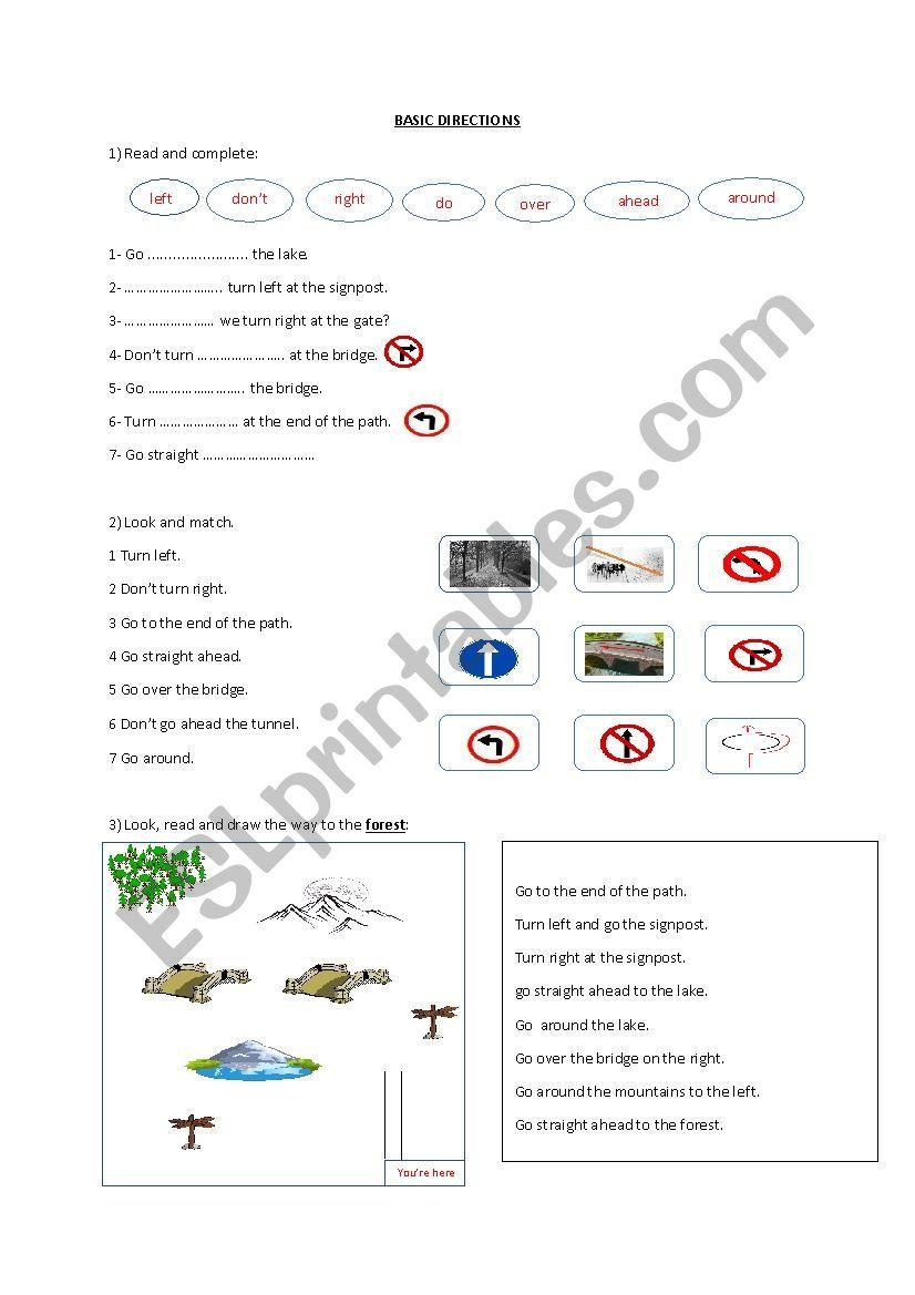 Basic Directions worksheet