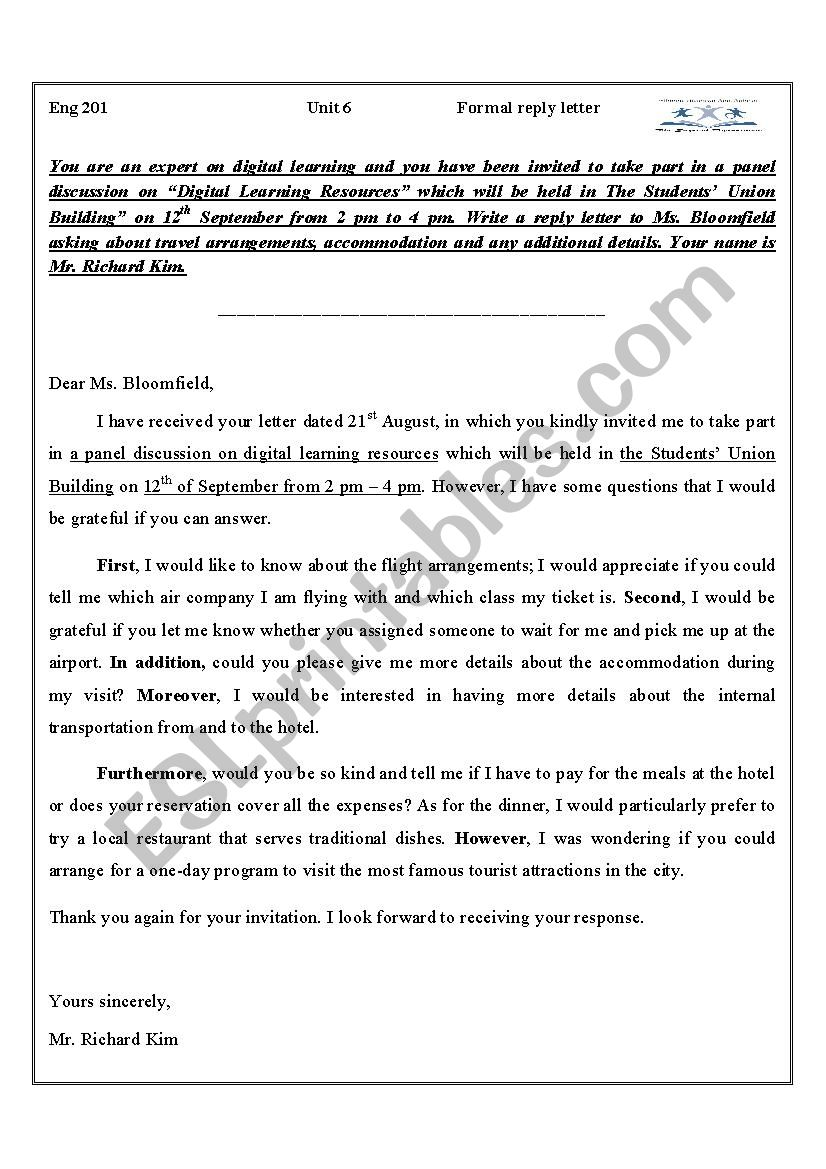 Formal Reply Letter Esl Worksheet By Amoor79