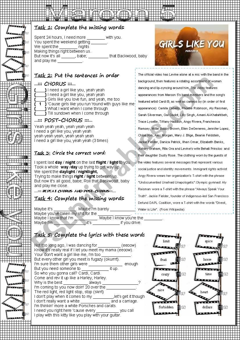 Girls like you - Maroon 5 worksheet