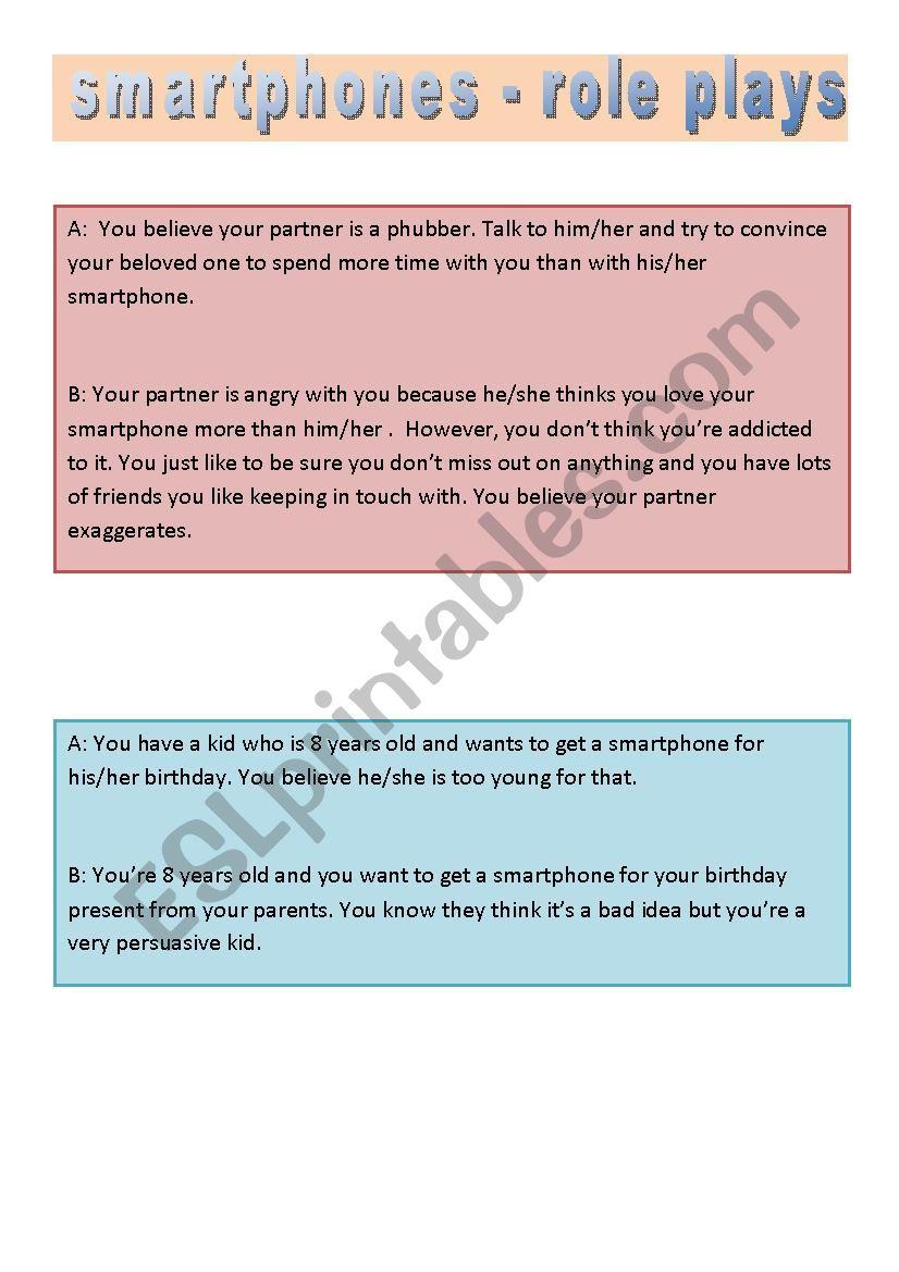 smartphones - role plays - ESL worksheet by mozalka