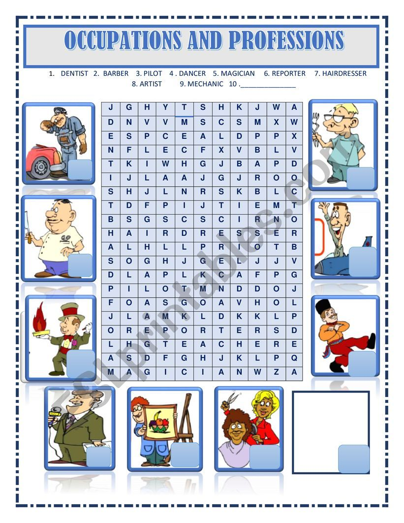 WORDSEARCH JOBS , OCCUPATIONS AND PROFESSIONS