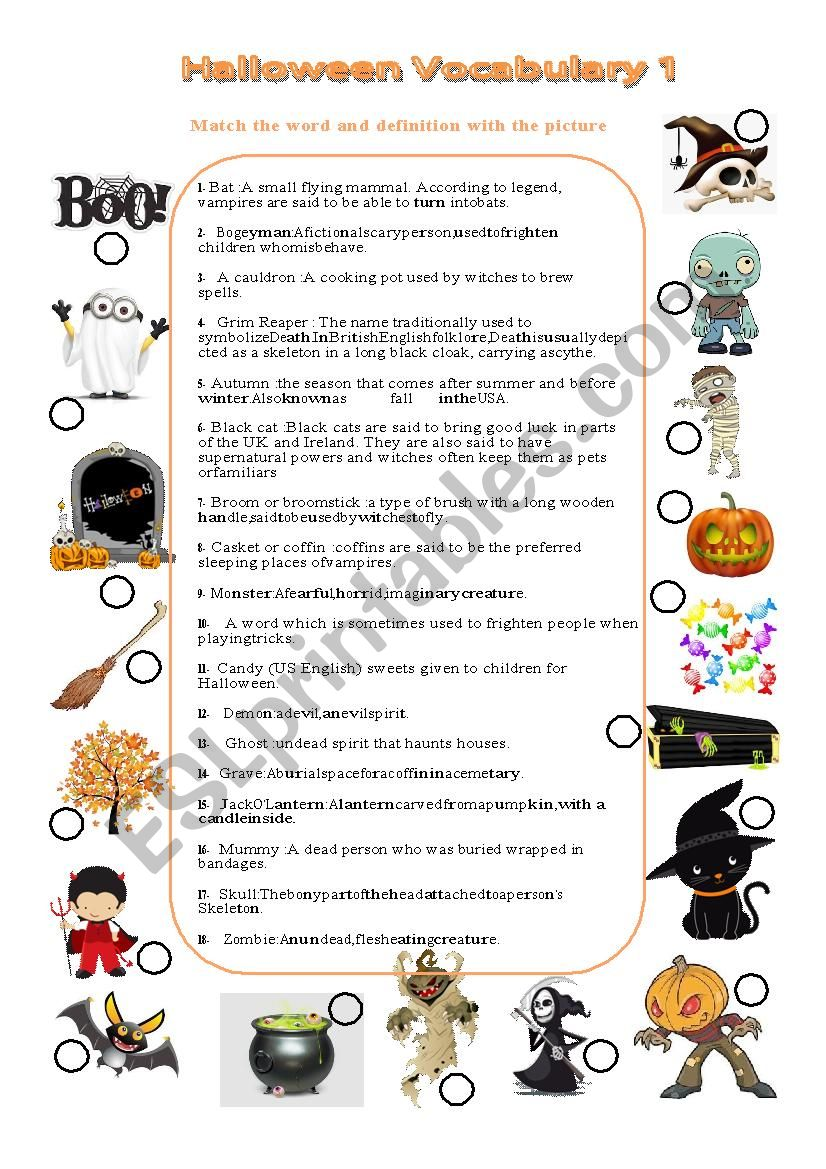 Halloween vocabulary matching picture with definition and keys n°1