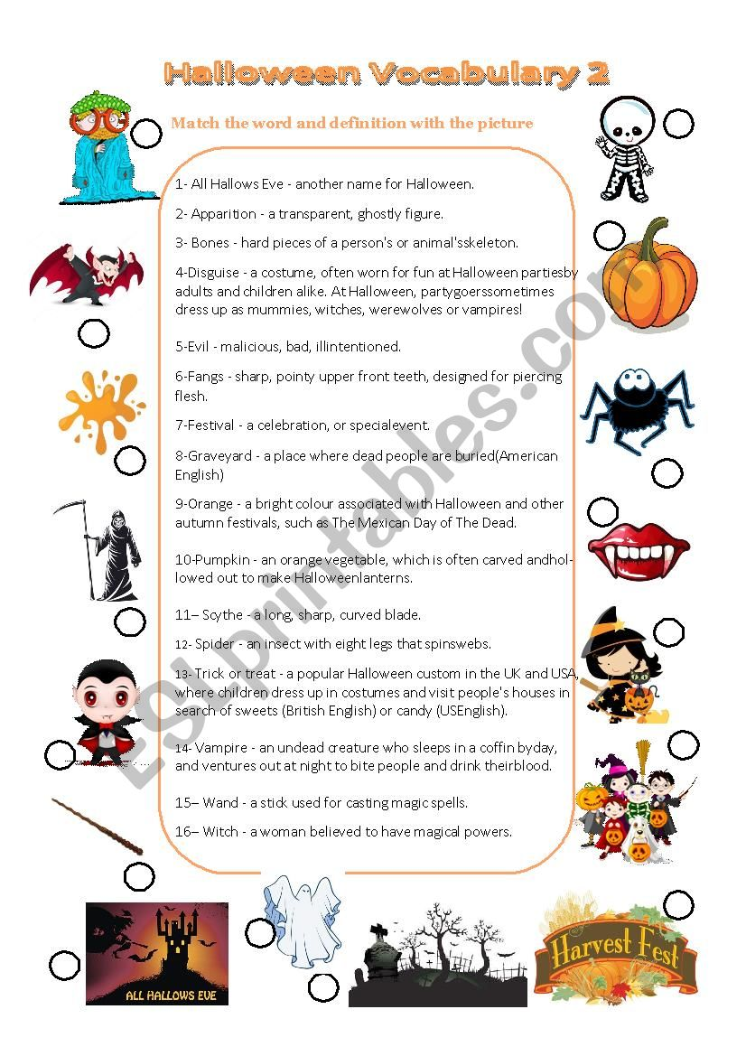 Halloween vocabulary matching picture with definition and key n°2