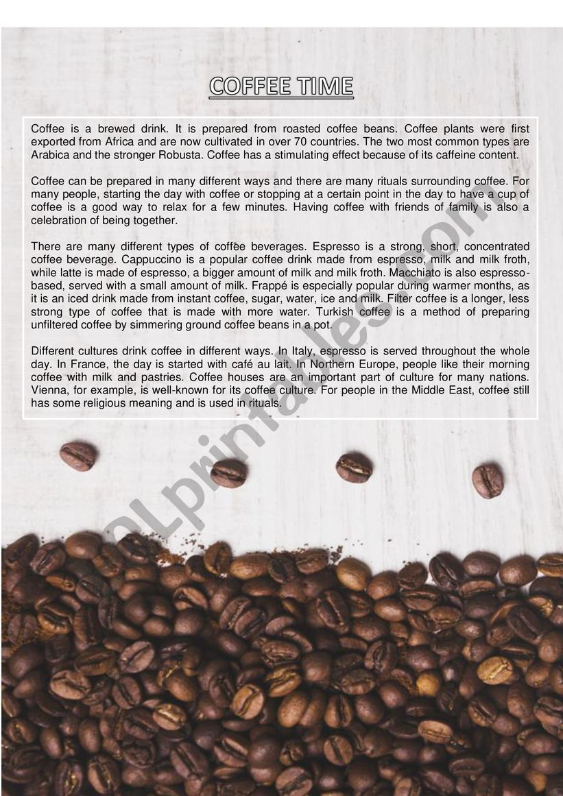 Coffee Time worksheet