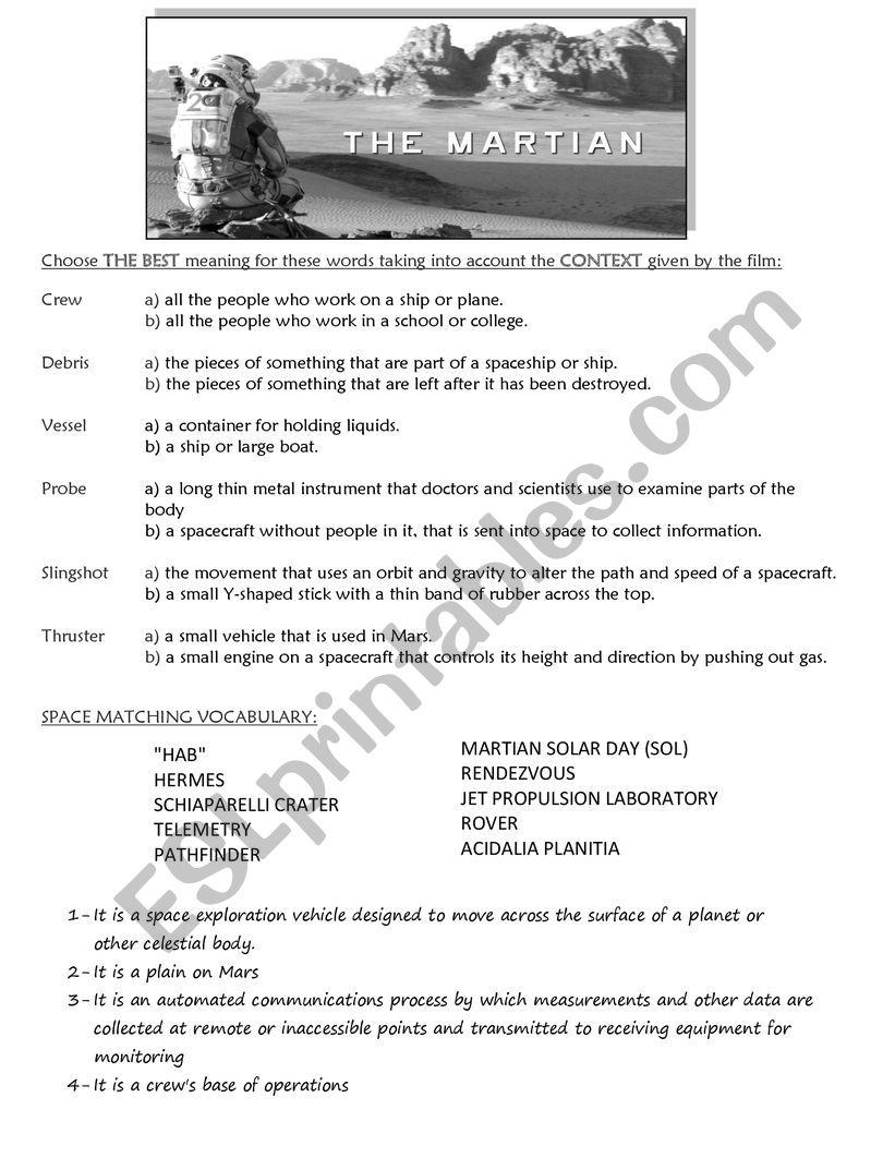 The Martian (movie worksheet) worksheet