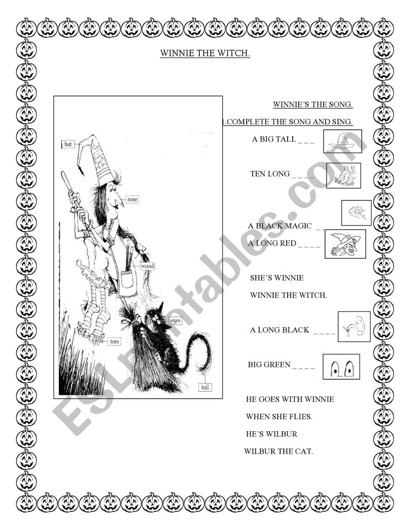 WINNIE THE WITCH SONG worksheet