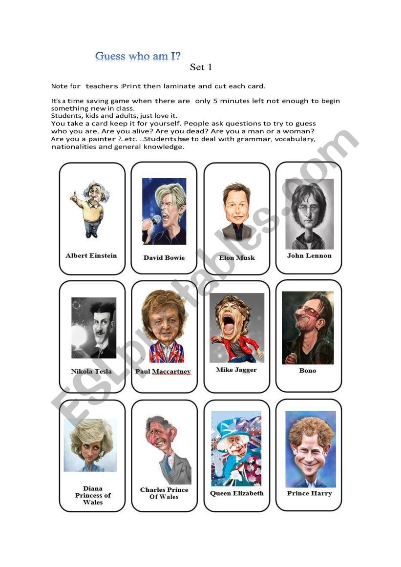 Game guess who ? Set 1 worksheet