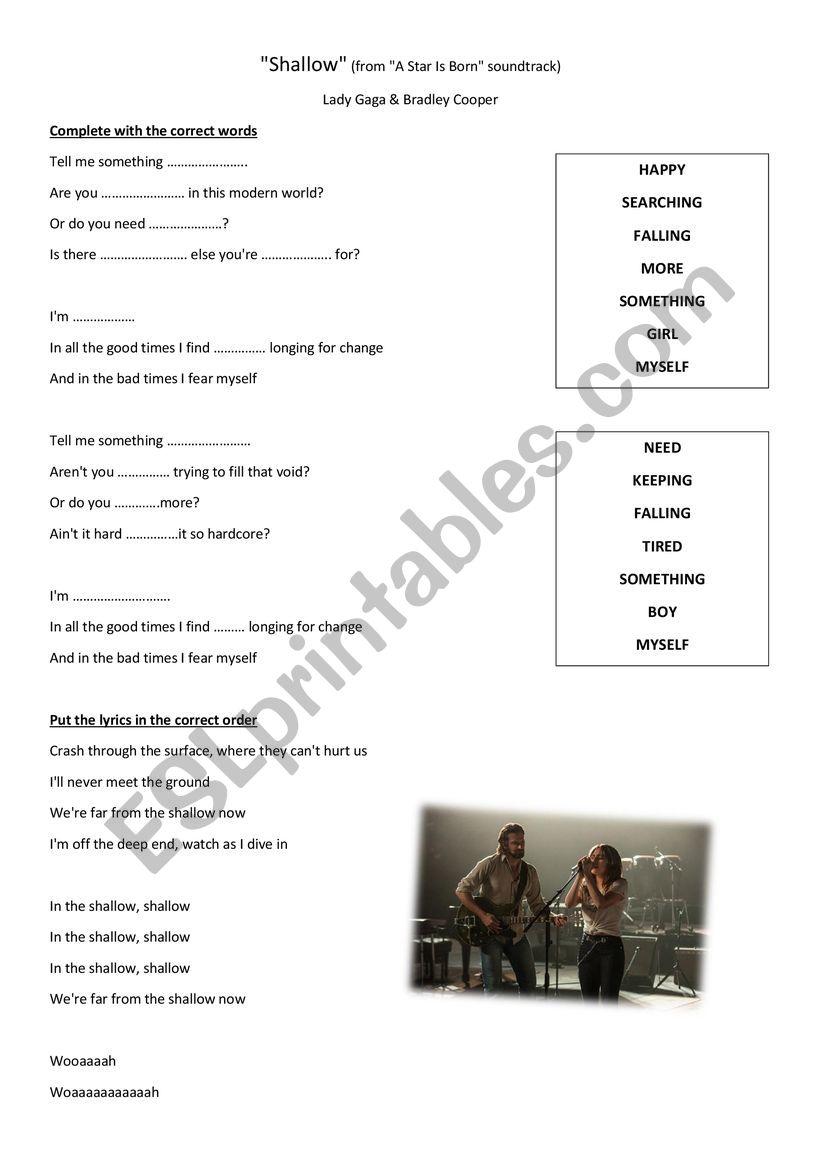 Song SHALLOW worksheet