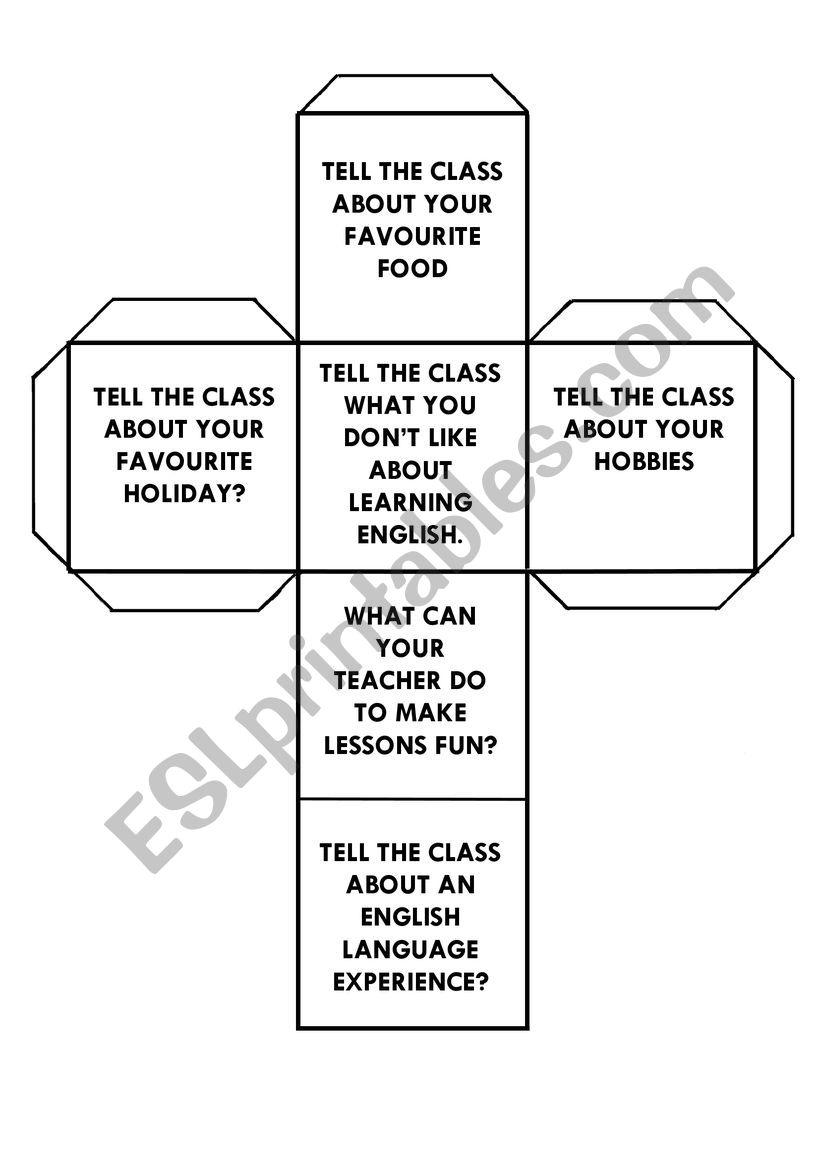 Speaking Dice worksheet
