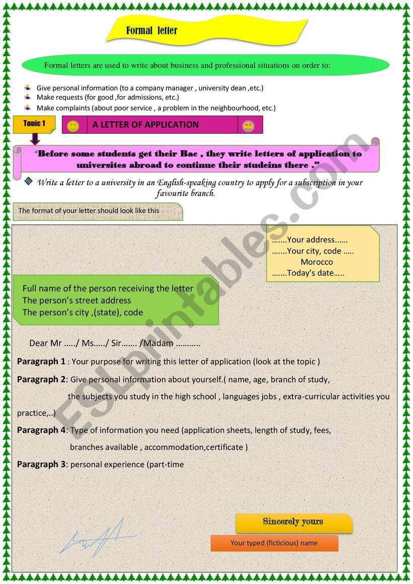 Formal letter  worksheet