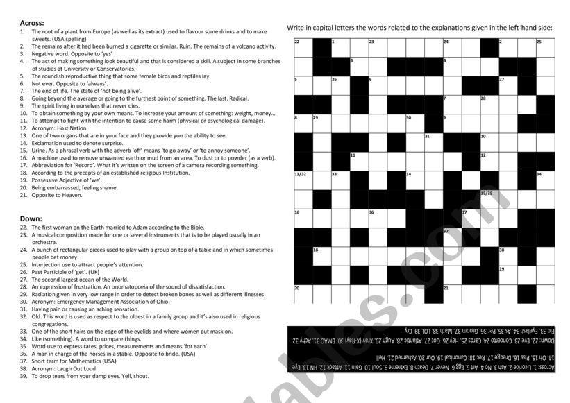 Crosswords worksheet