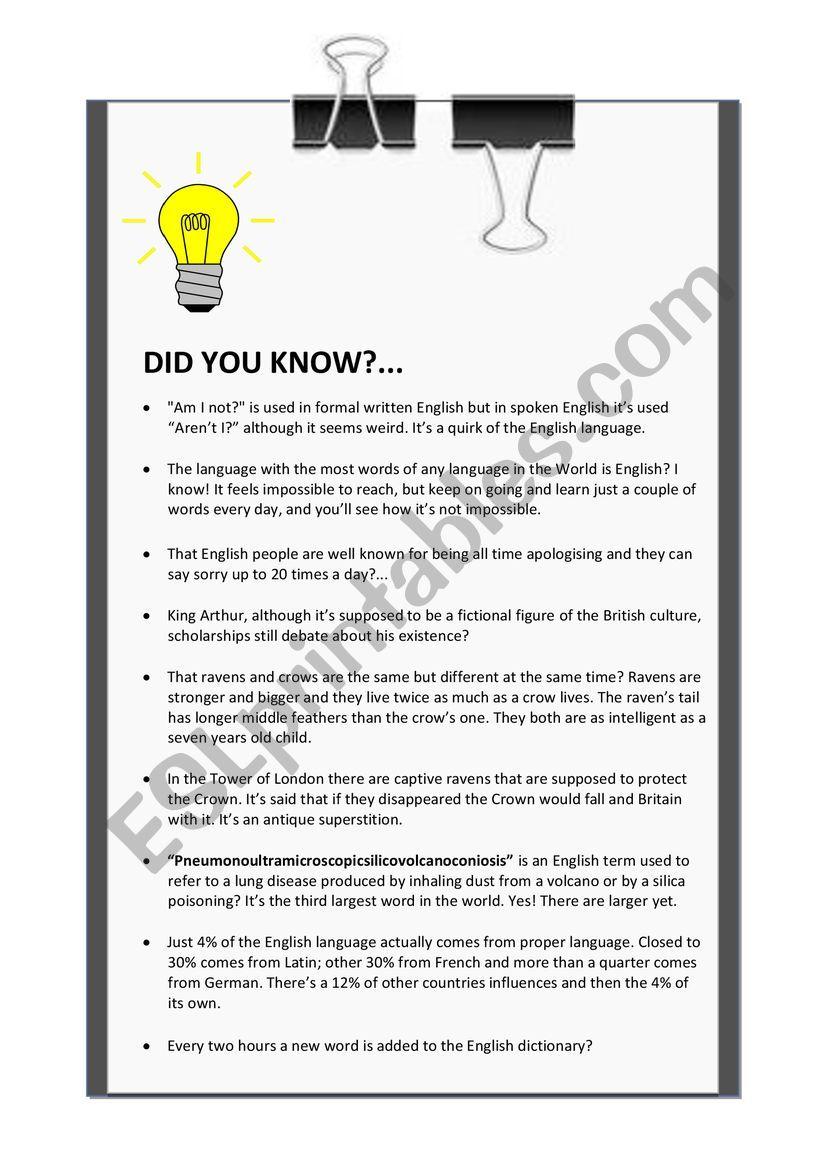 ´DID YOU KNOW?´ LEAFLET worksheet