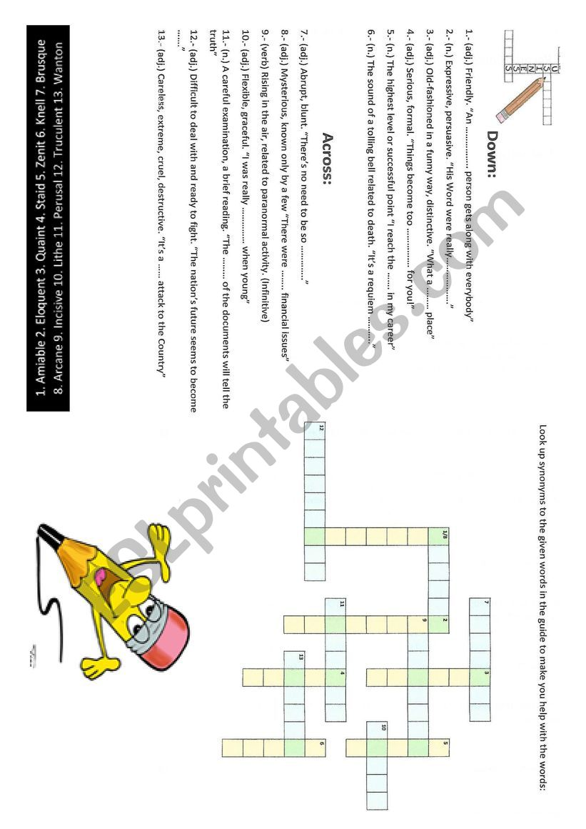 Crossword worksheet