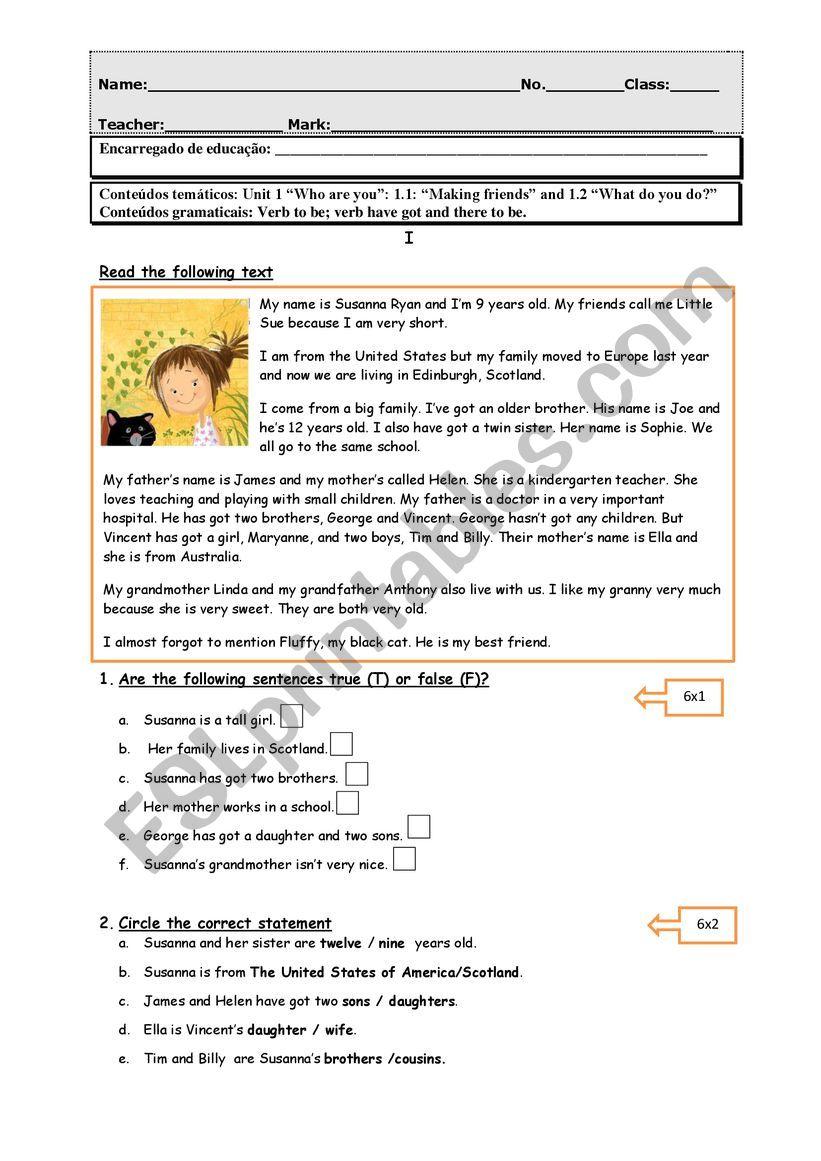 english test family worksheet