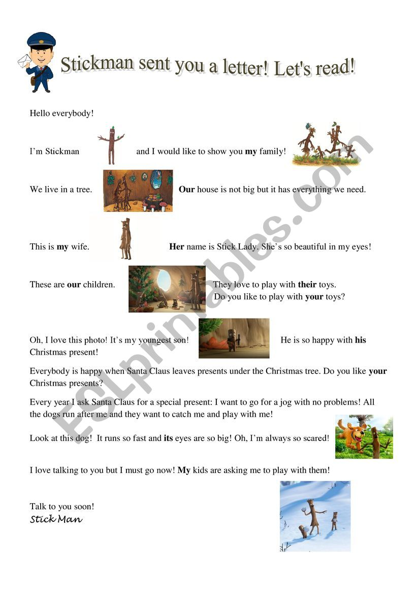 POSSESSIVE ADJECTIVES using STICKMAN by Julia Donaldson