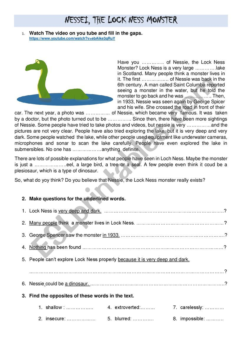 Loch Ness Monster; Opinion Essay