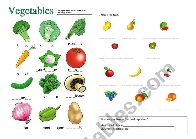 fruits and vegetables worksheets pdf