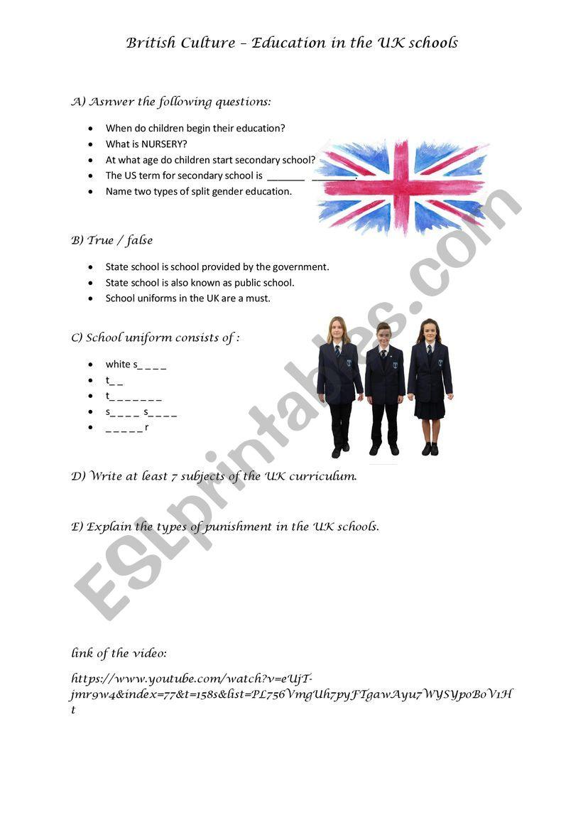 British Culture - UK Schools worksheet
