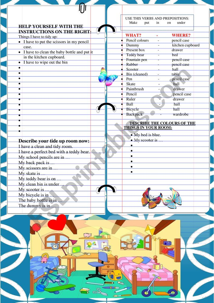 WORKSHEET ´Tidying up my room´ WRITING AND DESCRIBING THINGS