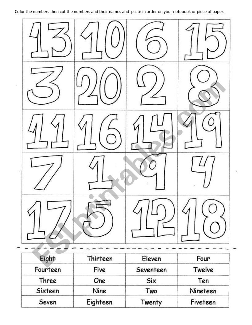 color, cut and paste numbers - ESL worksheet by judith zenteno
