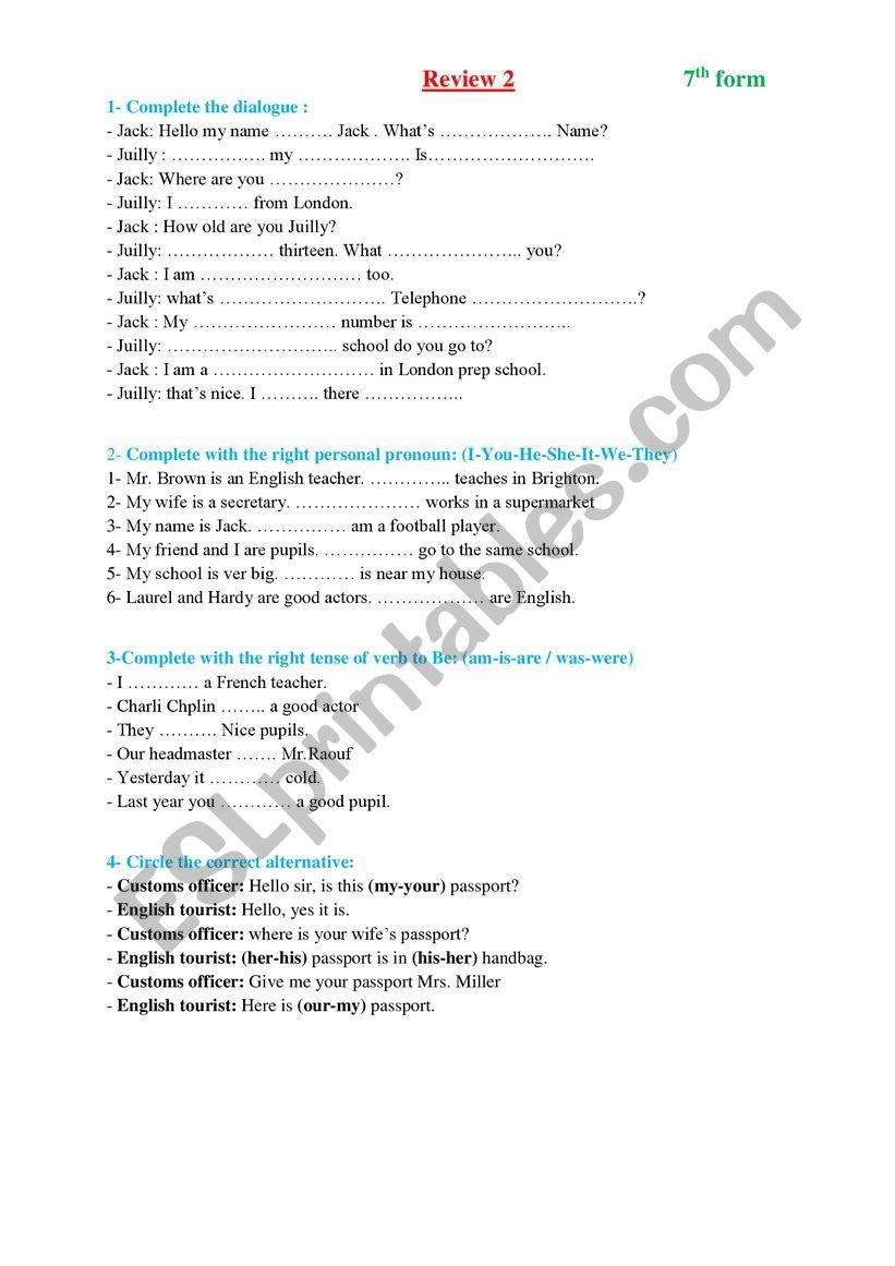 review 2  worksheet