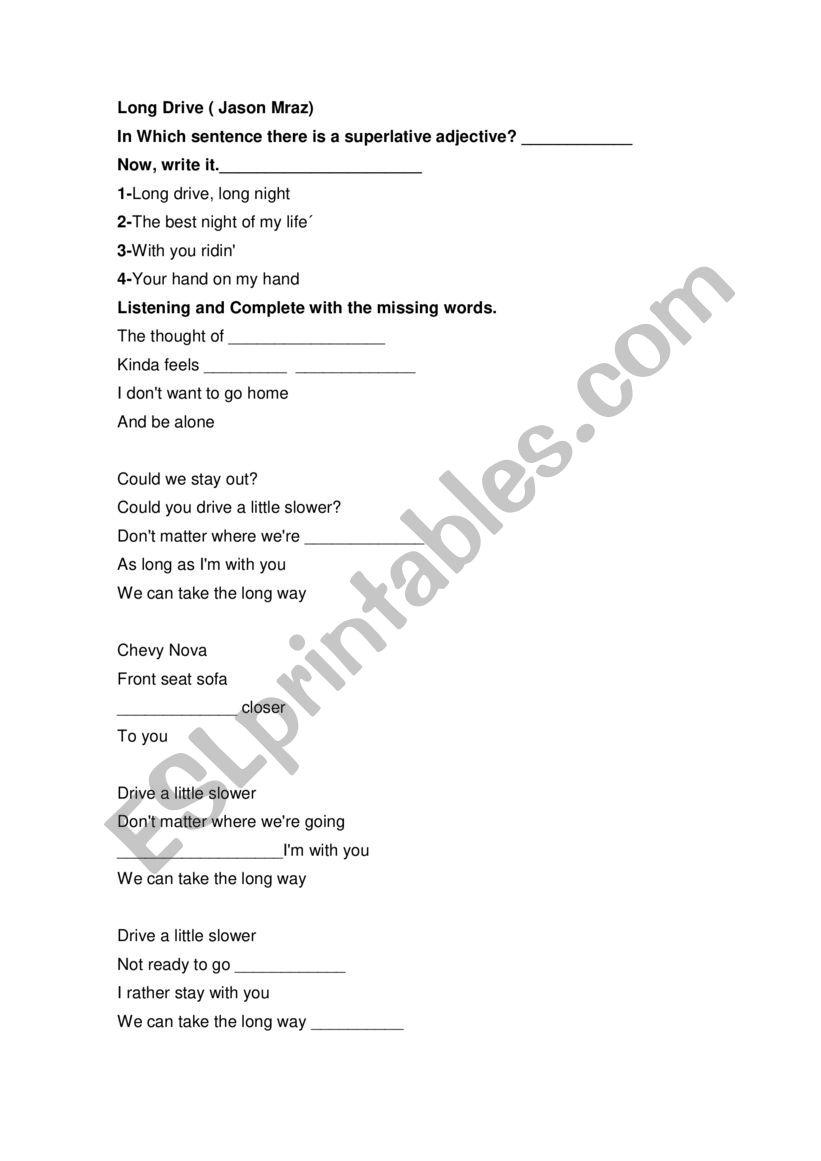 Long Drive song worksheet
