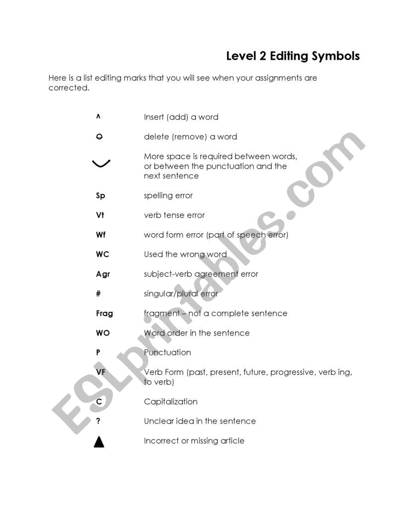 Editing Code For Writing Esl Worksheet By Melodieerickson