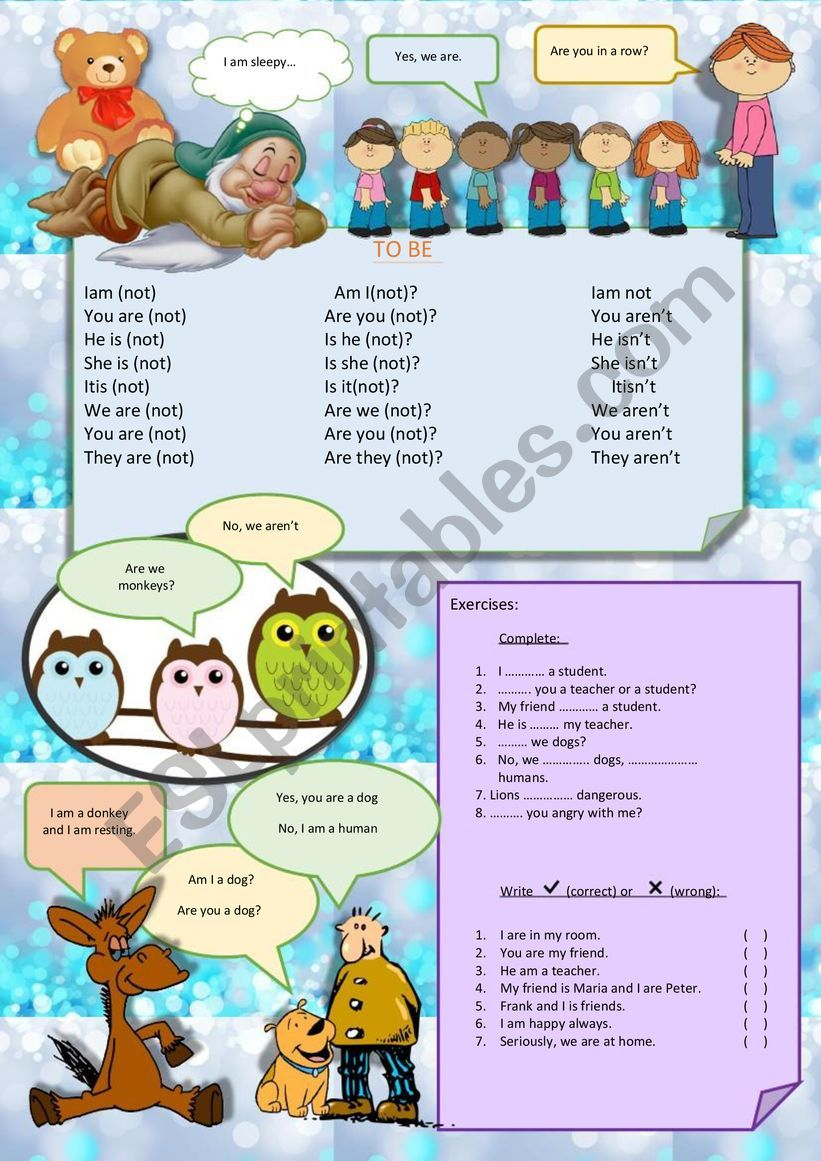 TO BE FOR CHILDREN worksheet