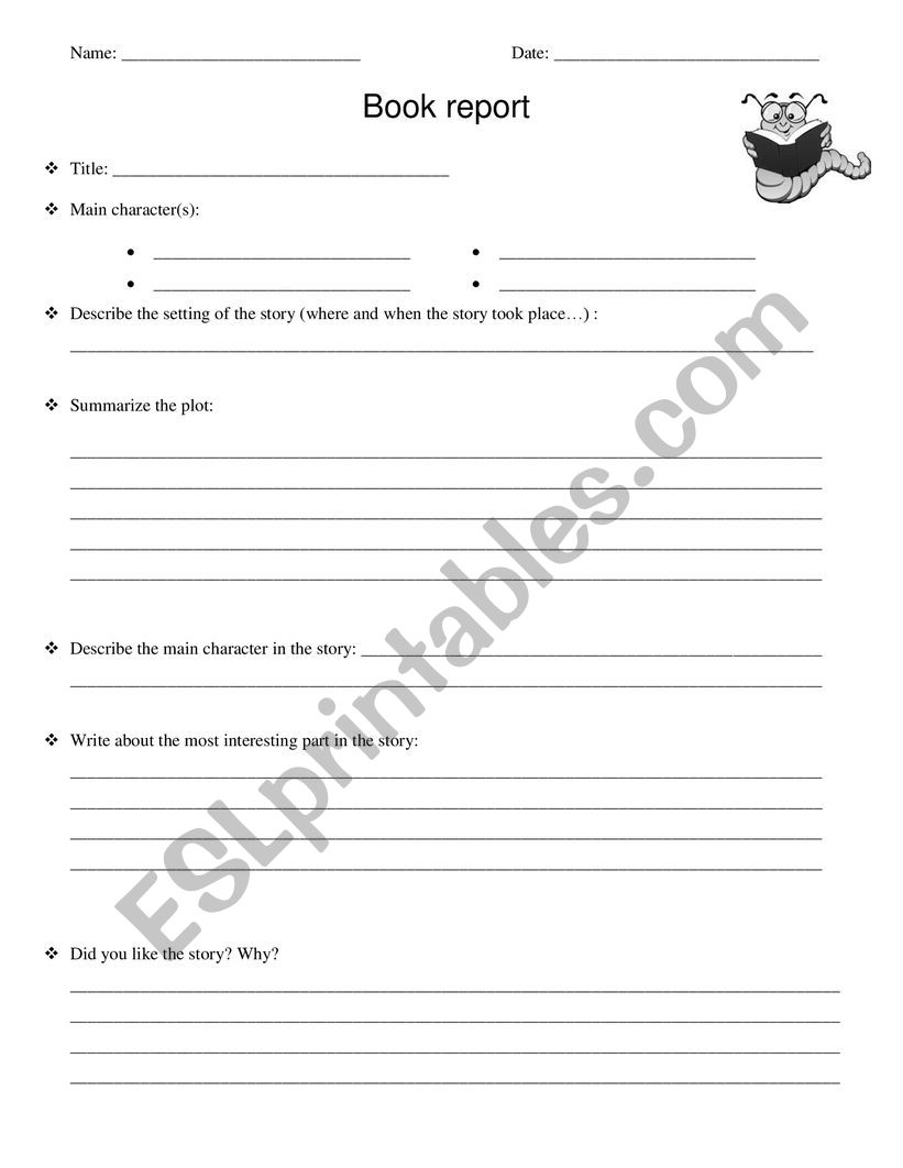 An easy book report worksheet