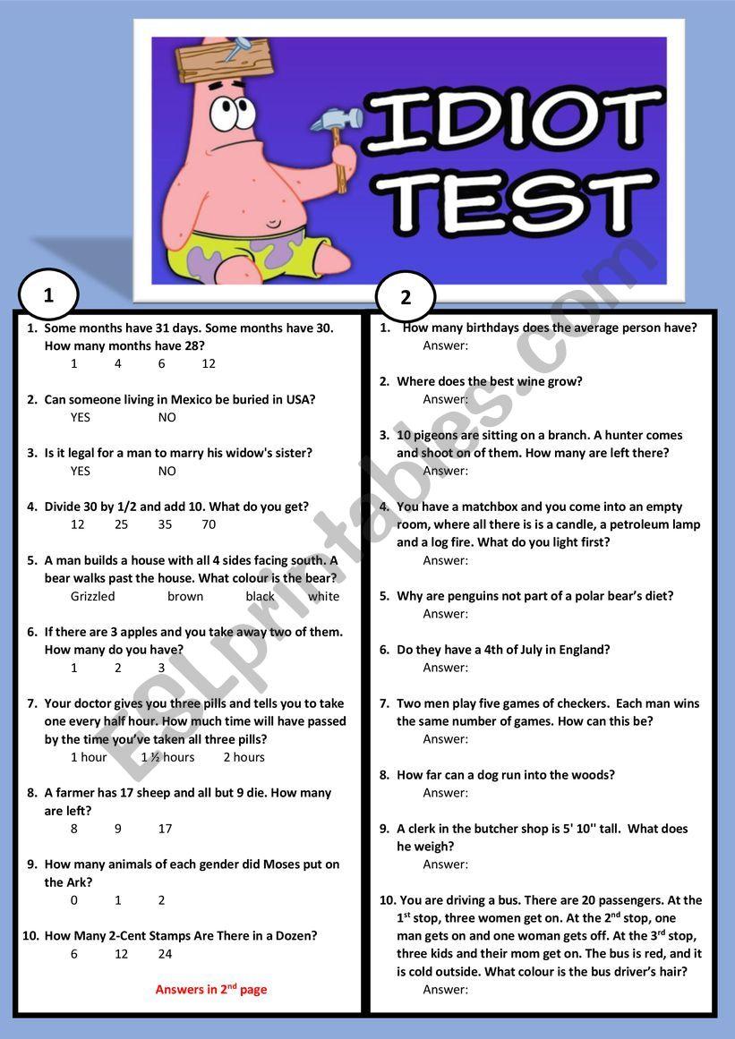 BRAIN TEASER!   A STUPIDITY TEST!