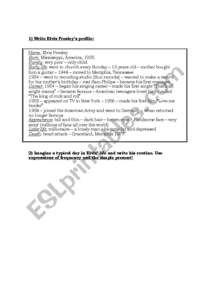 Elvis´ Writing worksheet