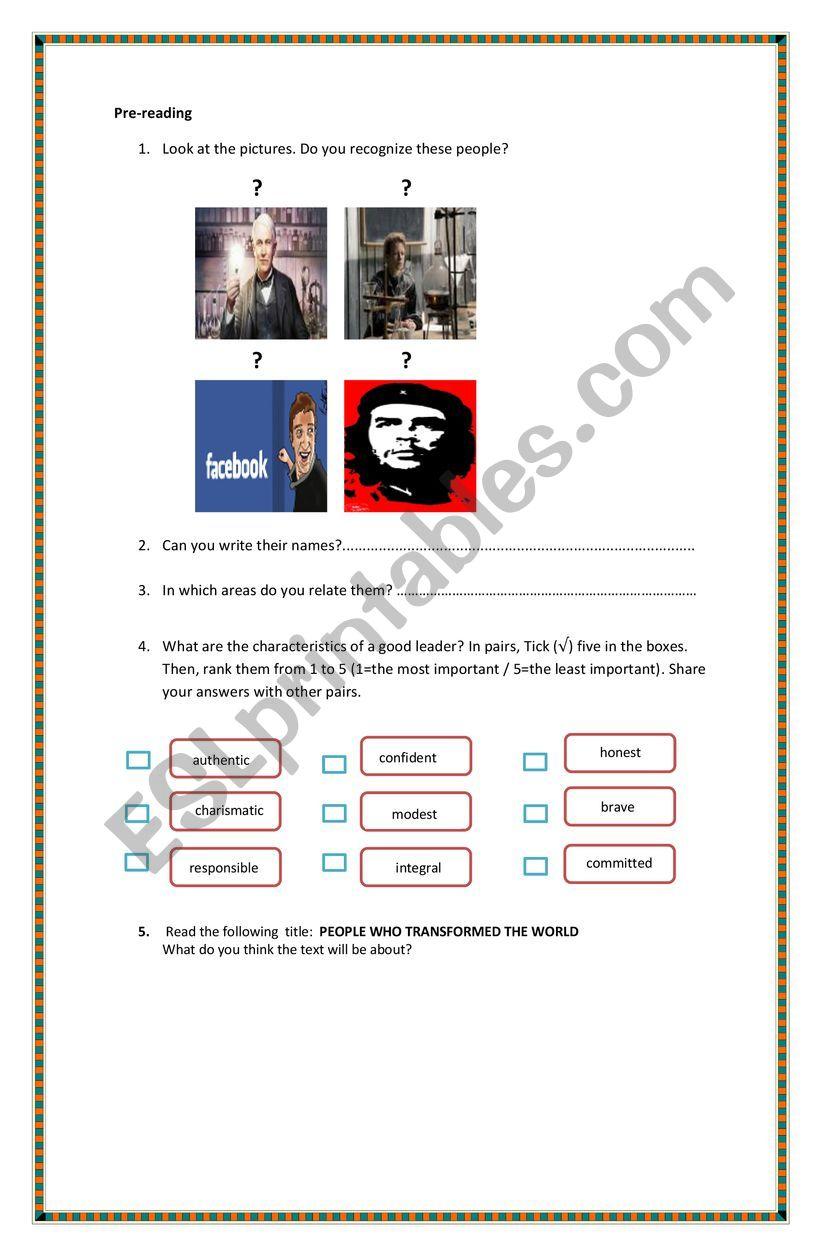 Outstanding People worksheet