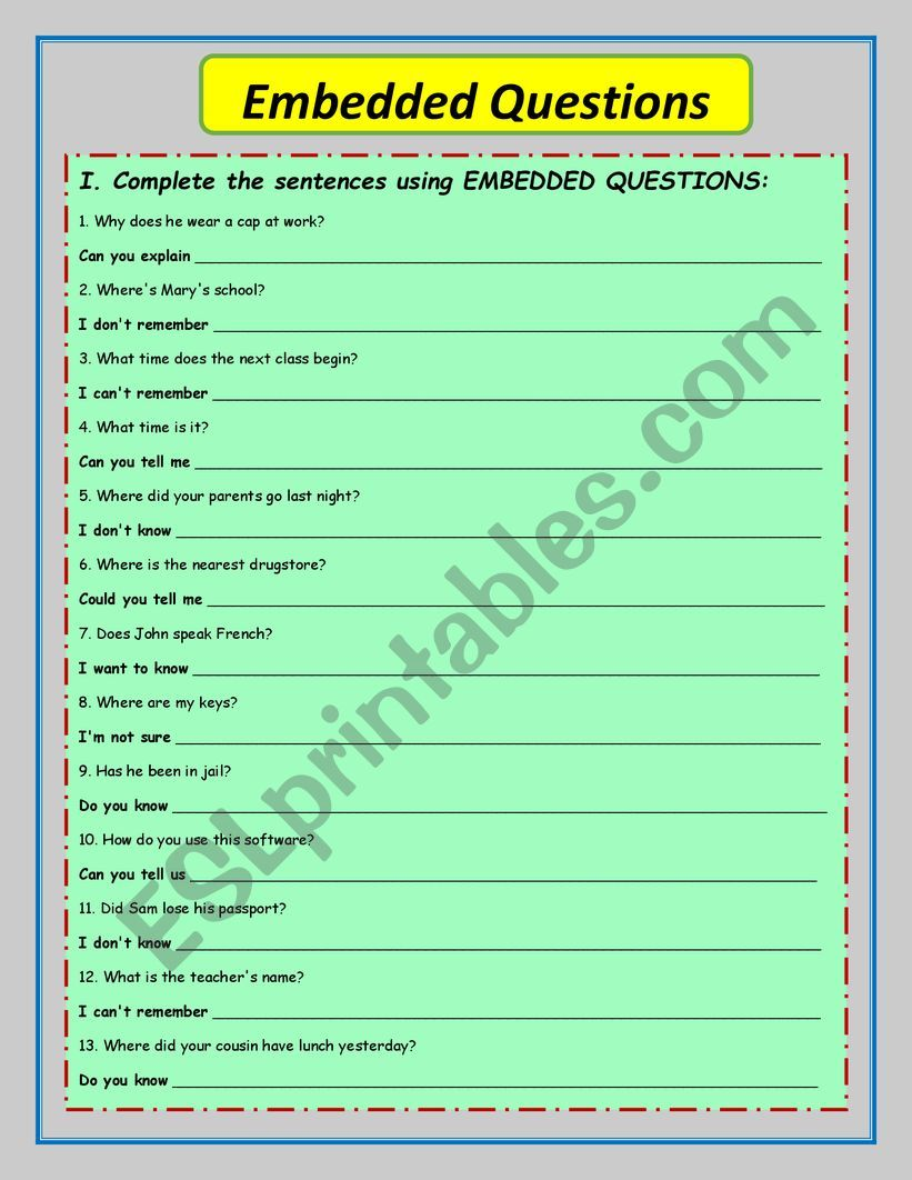 Embedded questions worksheet