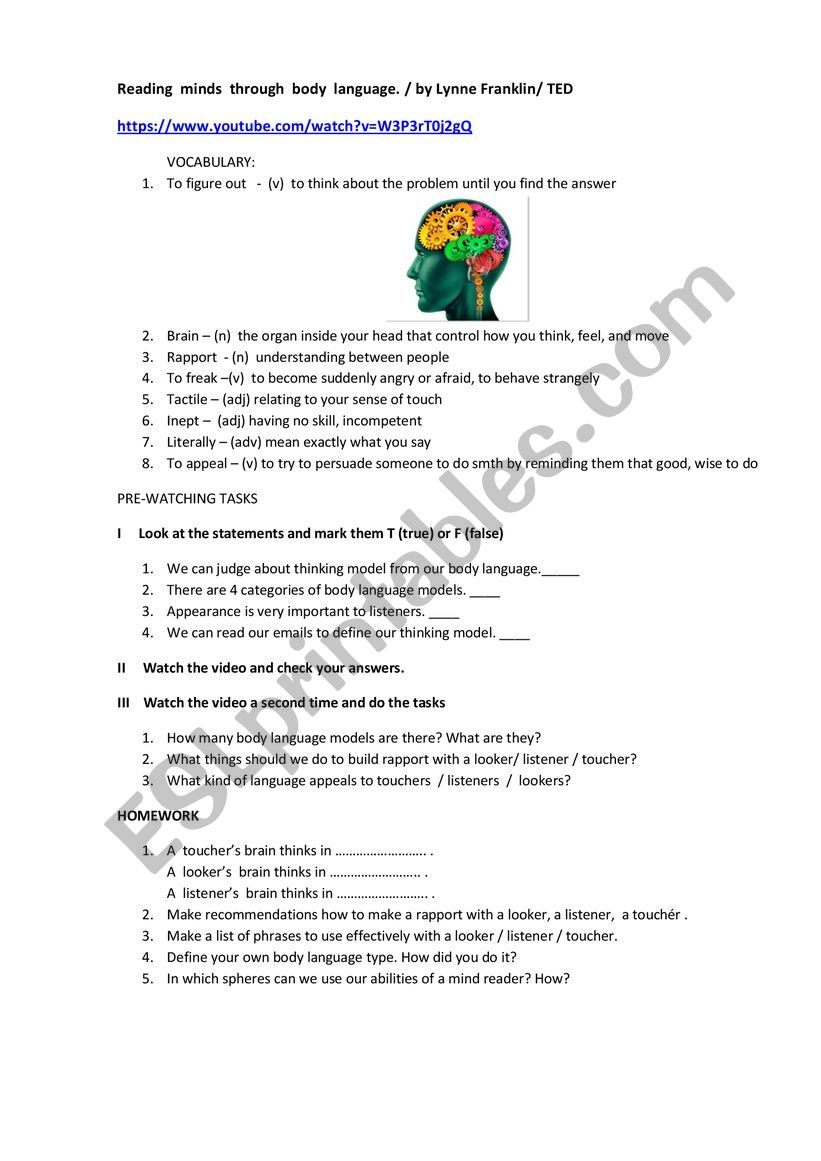 Ted Video Worksheet Reading Minds Through Body Language By Lynne