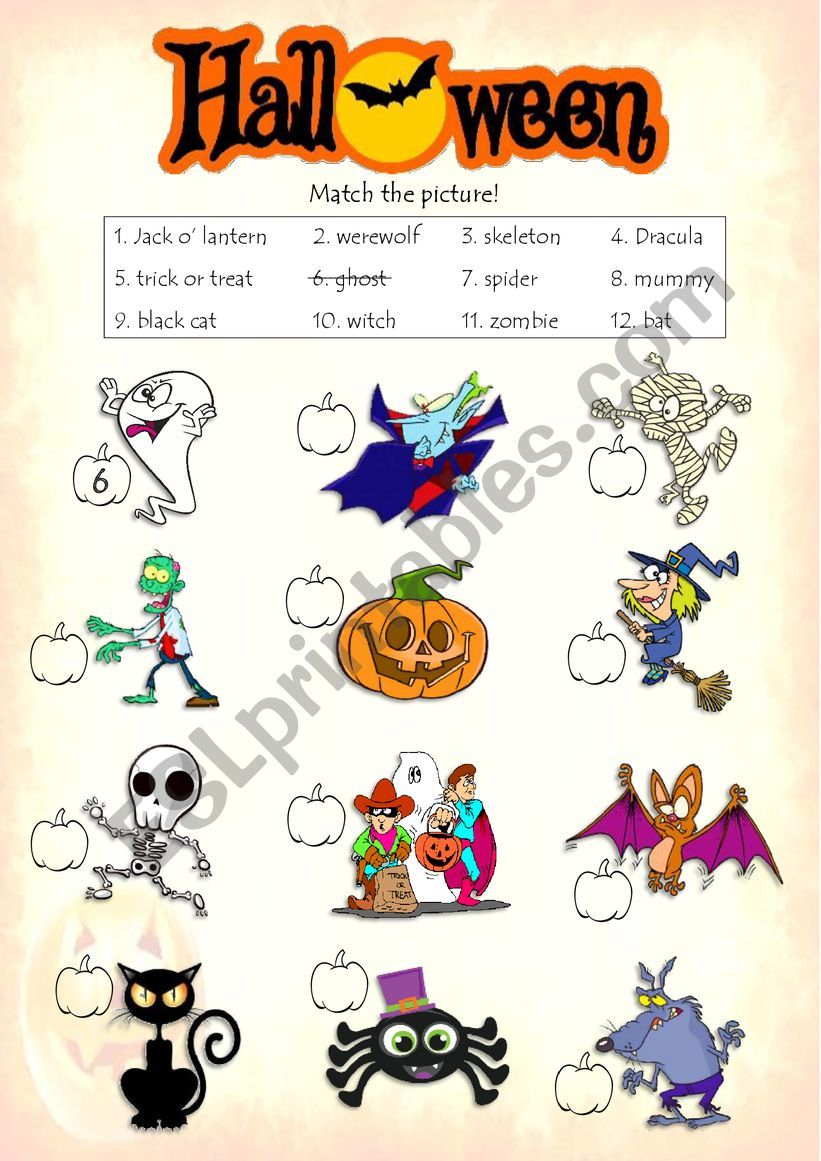 Halloween - Match the picture worksheet