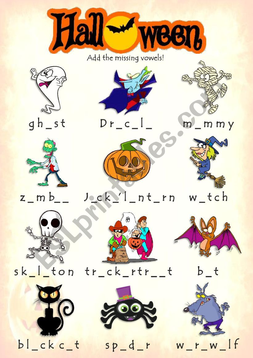 Halloween - Add the missing vowels