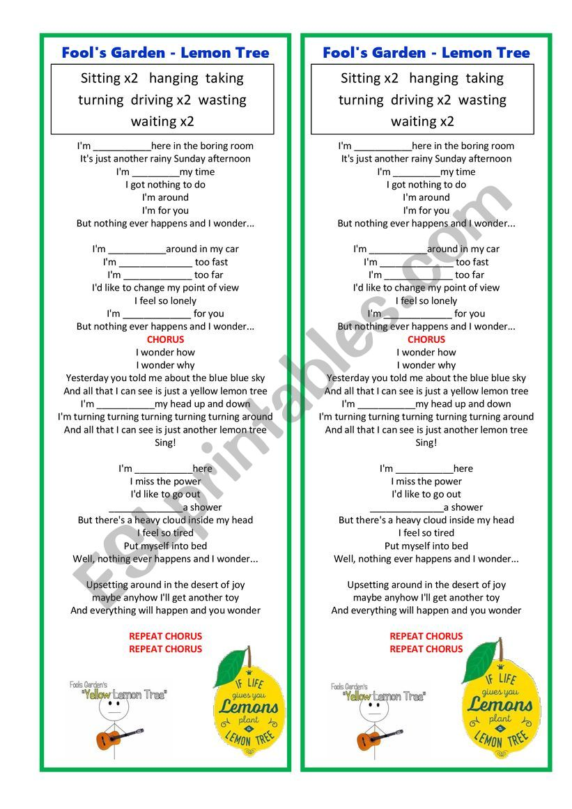 YELLOW LEMON TREE  worksheet