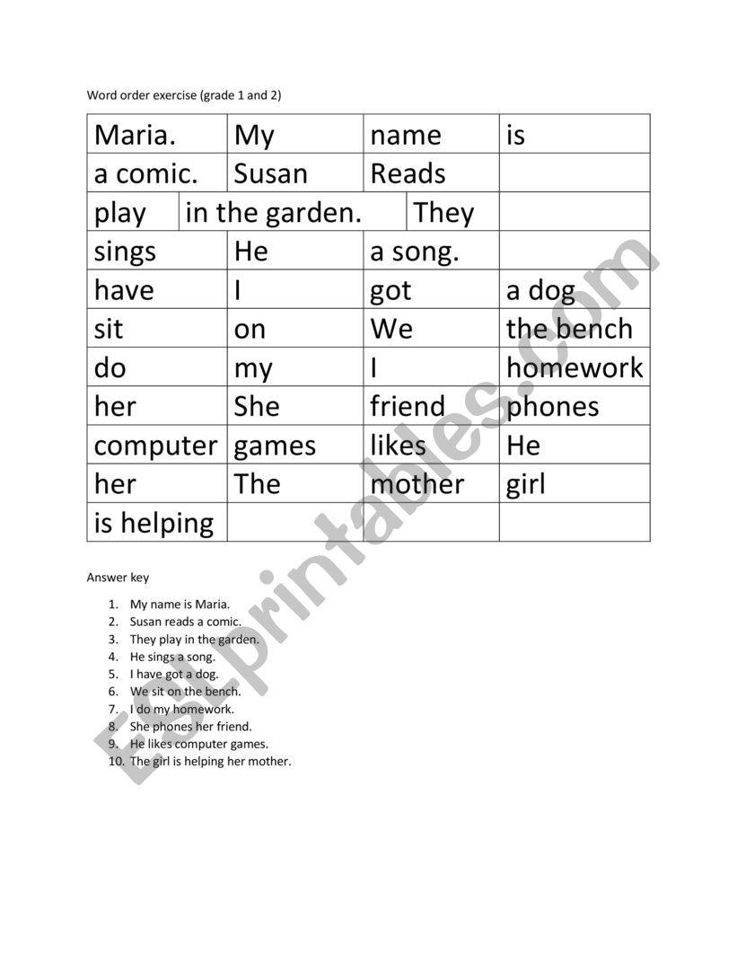 Word Order worksheet