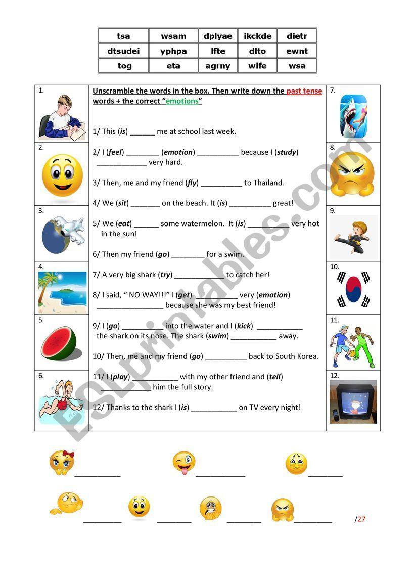 Diary (past tense + emotions) worksheet