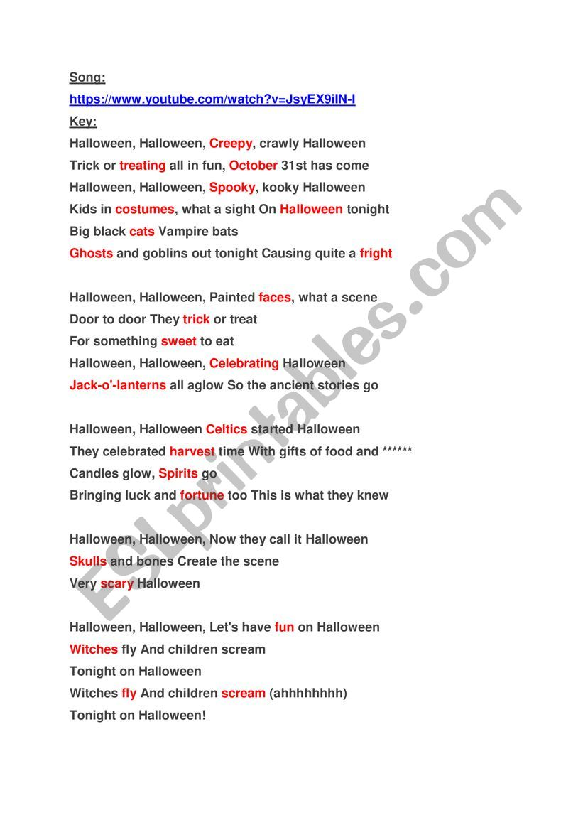 Halloween Song - ESL worksheet by imanito