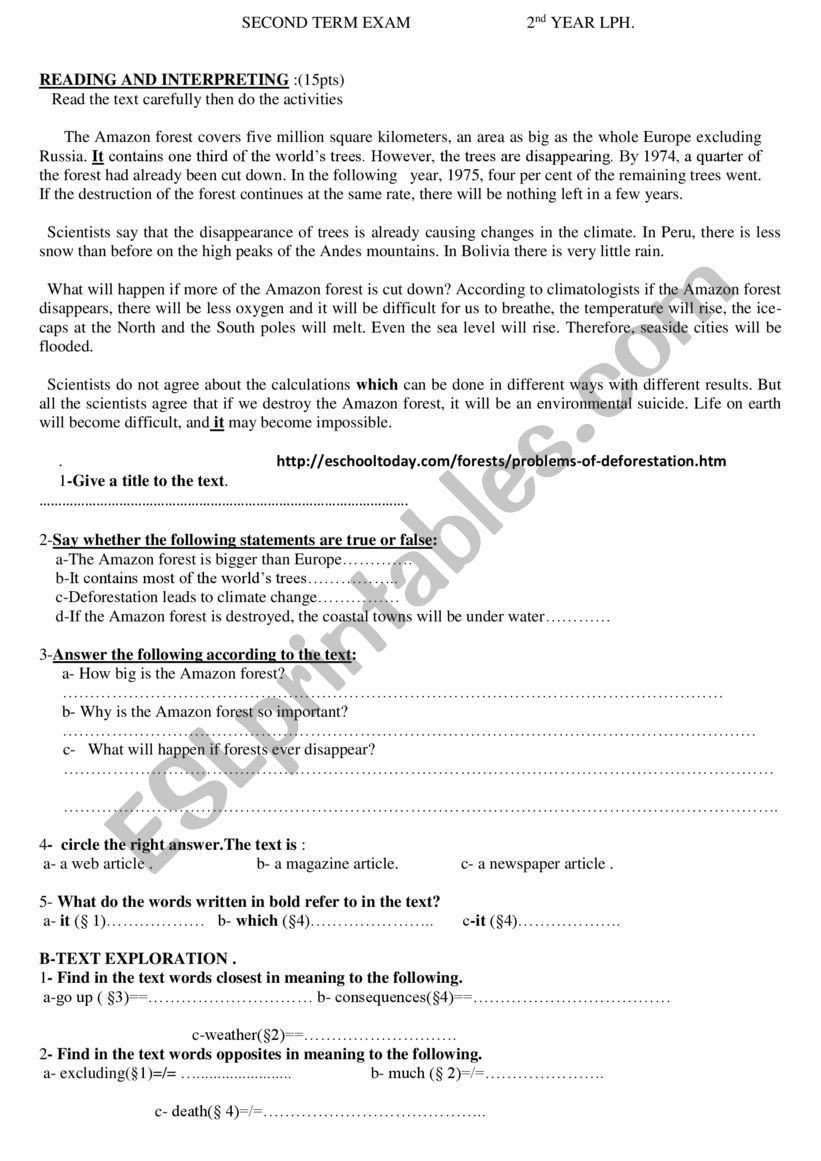 2nd year exam worksheet