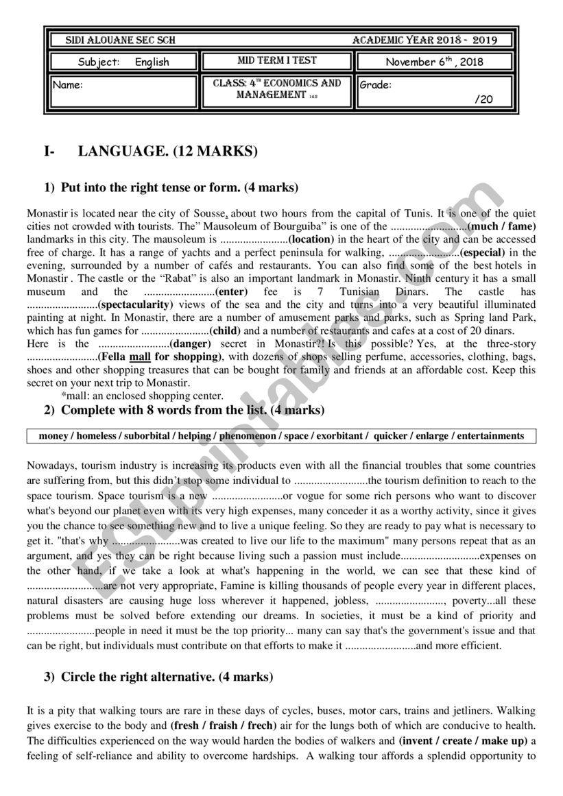 Form 3 English Exam Paper 2018