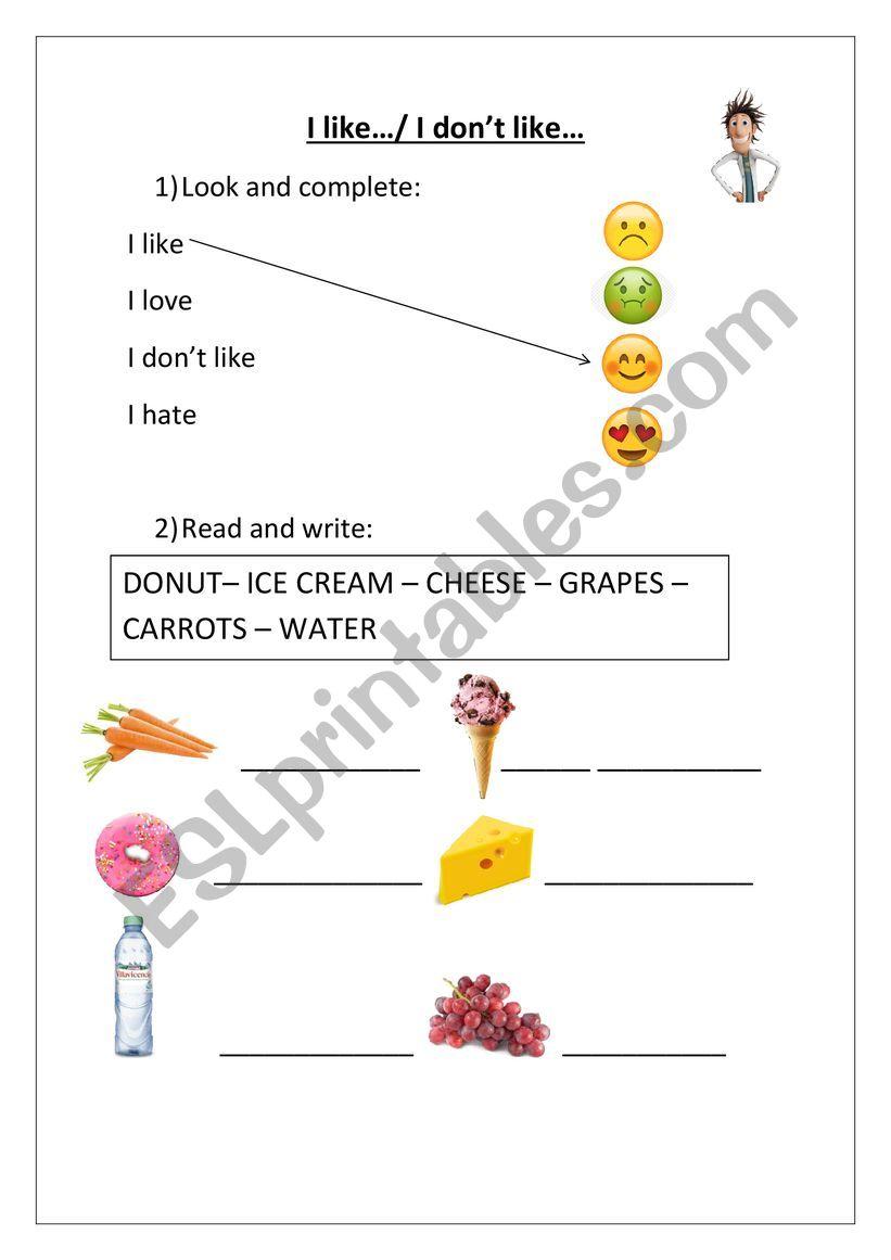 Food I like/ I don´t like worksheet