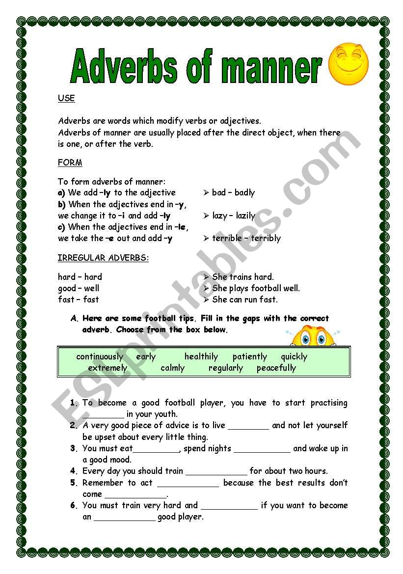 Adverbs of manner (-ly) worksheet