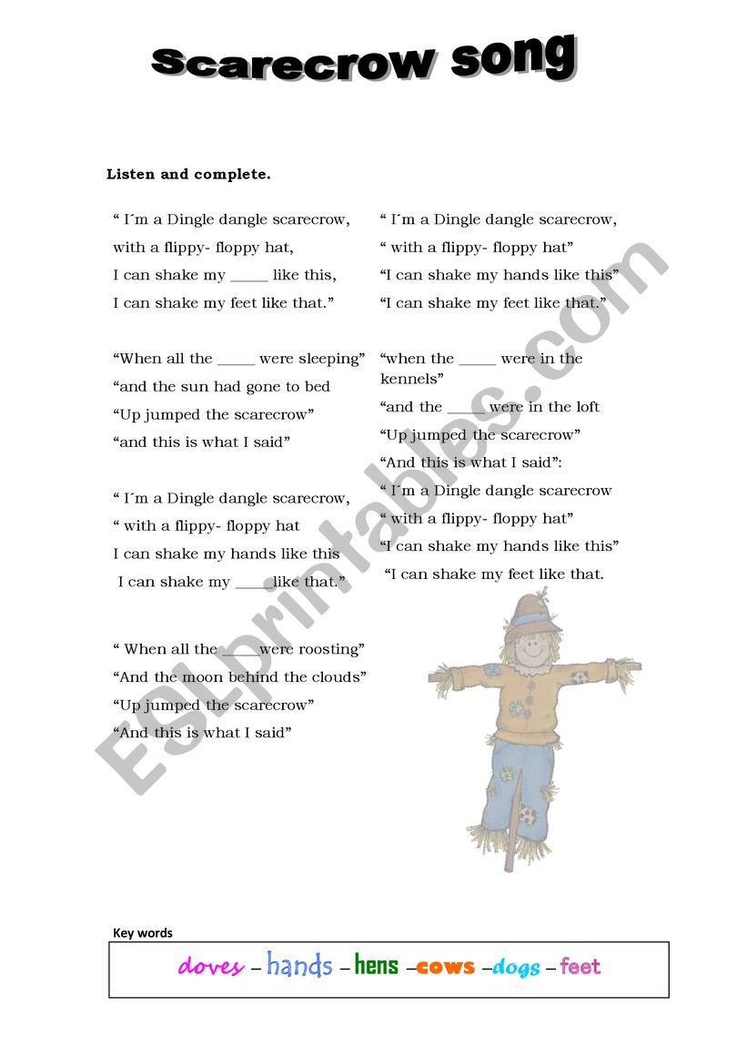 Scarecrow song to complete worksheet