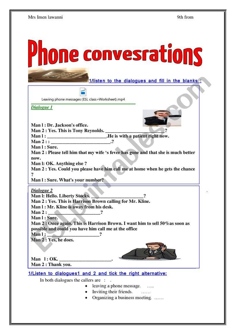 leaving a phone message  worksheet